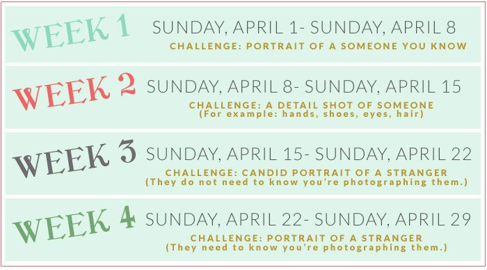 So pumped for this! Schedule for April Photo Challenge.