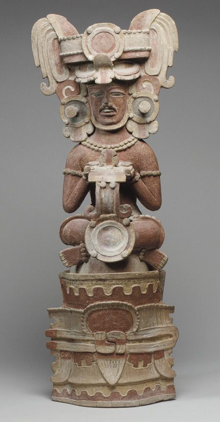 4th century  Mexico or Guatemala; Maya/Perhaps the depiction of a fourth-century Maya king, this incense burner would have been used to make offerings carried by smoke to the spirits and deities in the supernatural realm.   Rulers are represented in Maya art as communicators with the supernatural and the living may have sought their continued intervention after death.