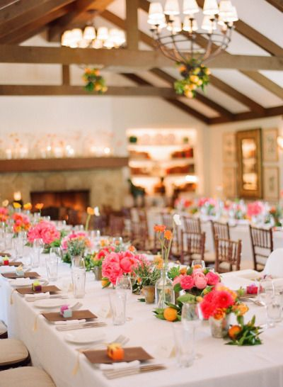 #tablescapes bright and happy centerpieces at San Ysidro Ranch | Photography by esthersunphoto.com, Florals by http://floravidasb.blogspot.com, Event Design by http://hellogem.com  Read more - http://www.stylemepretty.com/2013/09/26/san-ysidro-ranch-wedding-from-esther-sun-photography/
