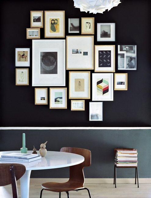 un mur de cadres : 20 idées déco pour accrocher ses cadres au mur avec style
