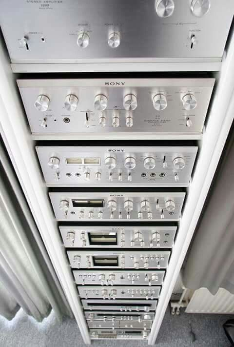 Vintage Sony Stereo Audio Components, nice tall rack for that listening room!