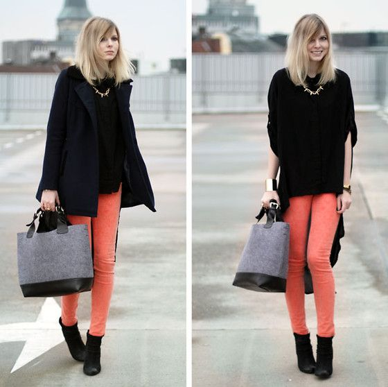 coral denim + all black: Hair Colors, Pop Of Colors, Colors Jeans, Bright Colour, Black Cape, Pink Pants, Fashion Pants, Colors Denim, Bright Colors
