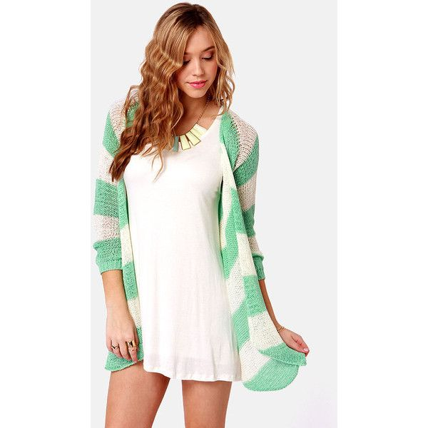 Seaside the Point Ivory and Mint Striped Sweater ($37) ❤ liked on Polyvore featuring tops, sweaters, full outfits, outfits, alexis ren, models, stripe top, long sleeve tops, mint sweater and long sleeve striped top