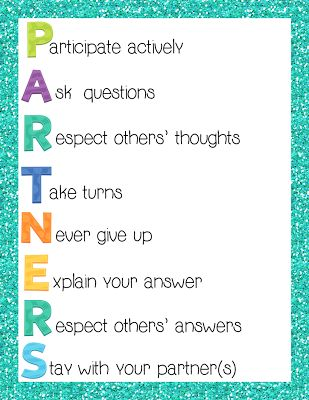 Helpful poster for classroom guidelines of group and partner work. Each letter of the acronym demonstrates a different expectation.