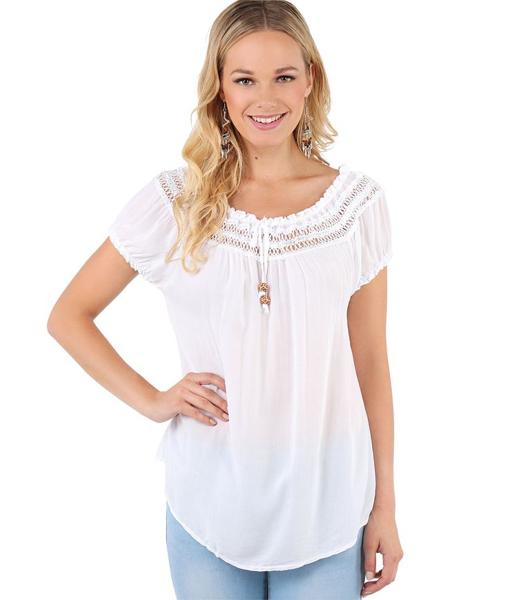 KRISP® Womens Gypsy Boho Loose Lightweight Off Shoulder Top Blouse Summer Tunic Shirt: Amazon.co.uk: Clothing