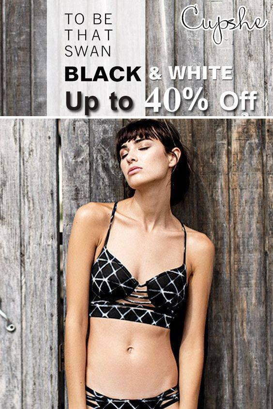 Avail To Be Swan Black and White: Up to 40% discount on black and white bikini set and swimsuit. Avail this deal before it ends. See More At: http://www.couponcutcode.com/stores/cupshe-coupon-codes/