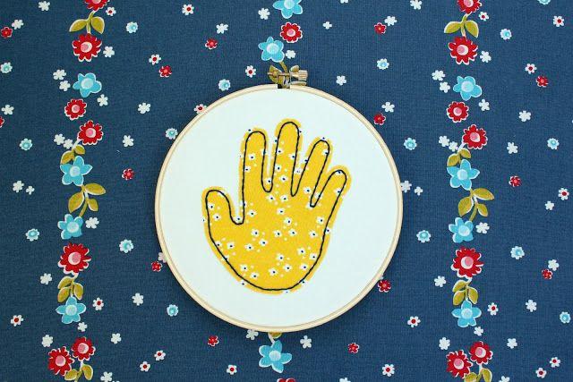 Stitched Handprint Keepsake from little lovelies. Create an adorable keepsake from your child's handprint.