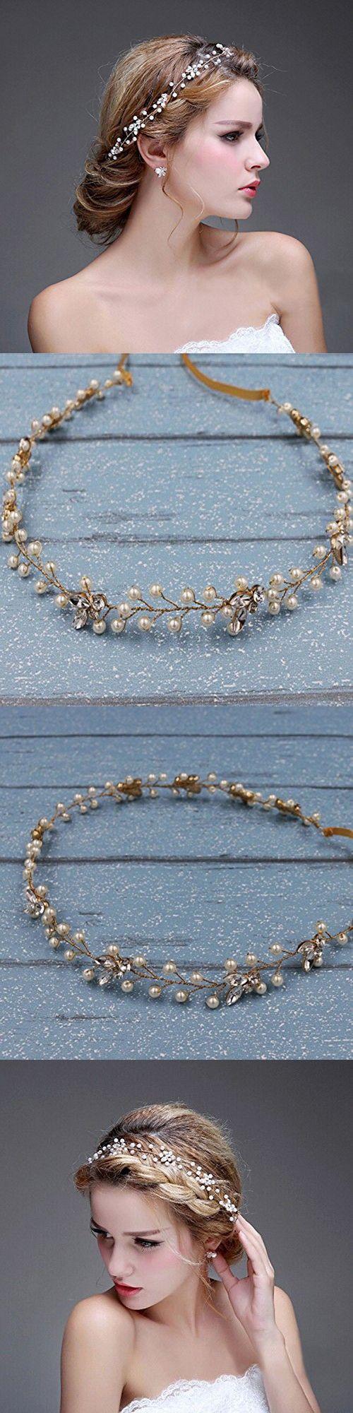 Bridalvenus Wedding Bridal Gold Headband - Bridal pearl halo - Bridal hair Updo accessory Wedding Bridesmaid Headpiece for Women and Girls (Gold)