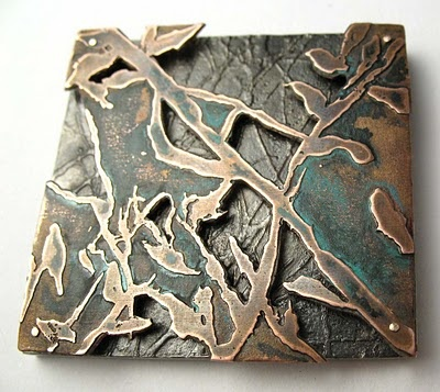 Brooch from Swamp Cartography; etched copper with oxidized silver