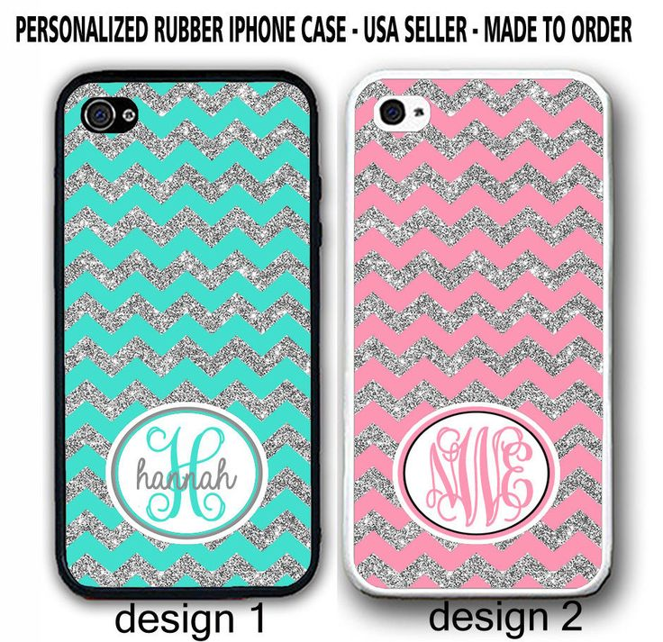 W/OUT GLITTERS MINT PINK CHEVRON CUSTOM MONOGRAM CASE FOR iPhone 7 6 6S PLUS SE #UnbrandedGeneric