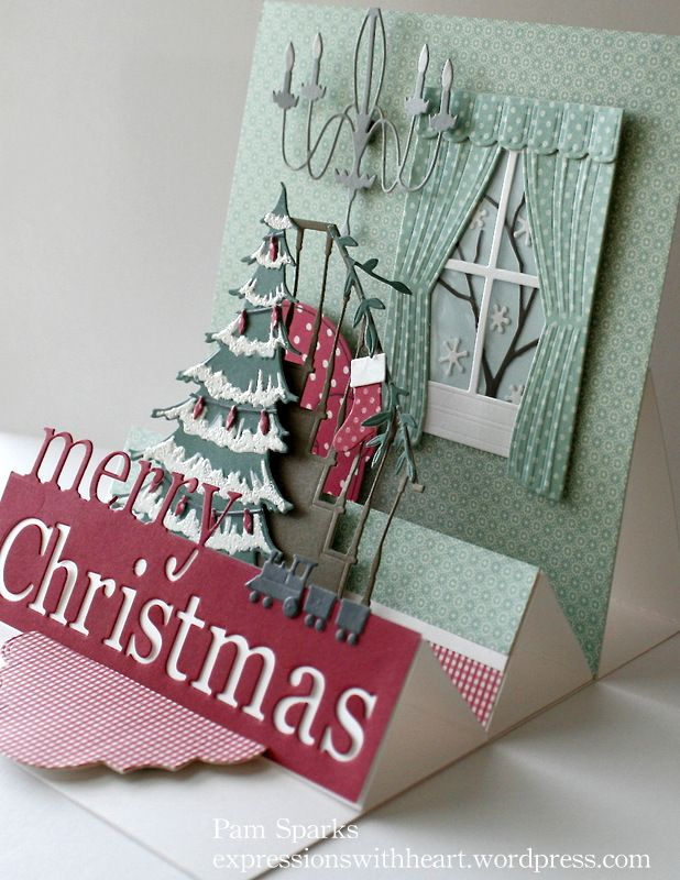 Chirstmas Die Cut, Stair Step card with Multi Easel that folds down flat to mail.  It's 5 1/2 inches square.