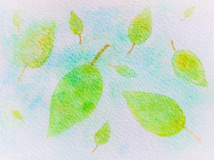 https://flic.kr/p/CcFbxY   watercolor. green leaves on blue