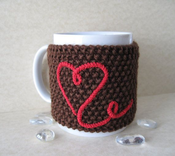 Very interesting way to do applique!  Crochet Brown Cup Cozy, Mug Cozy, Tea Cup Cozy with Red Heart and Wood Tree Branch Button for sale by Golden Lucy Crafts on Etsy.