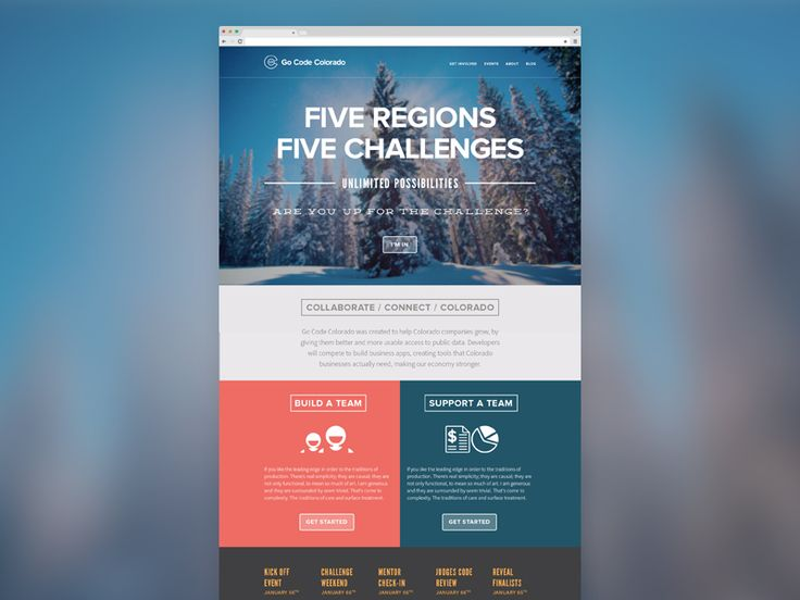 """Homepage design I created with the State of Colorado for Go Code Colorado, official description below:  """"Go Code Colorado was created to help Colorado companies grow, by giving them better and more..."""