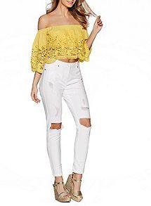 View product Quiz Yellow Crochet Bardot Top