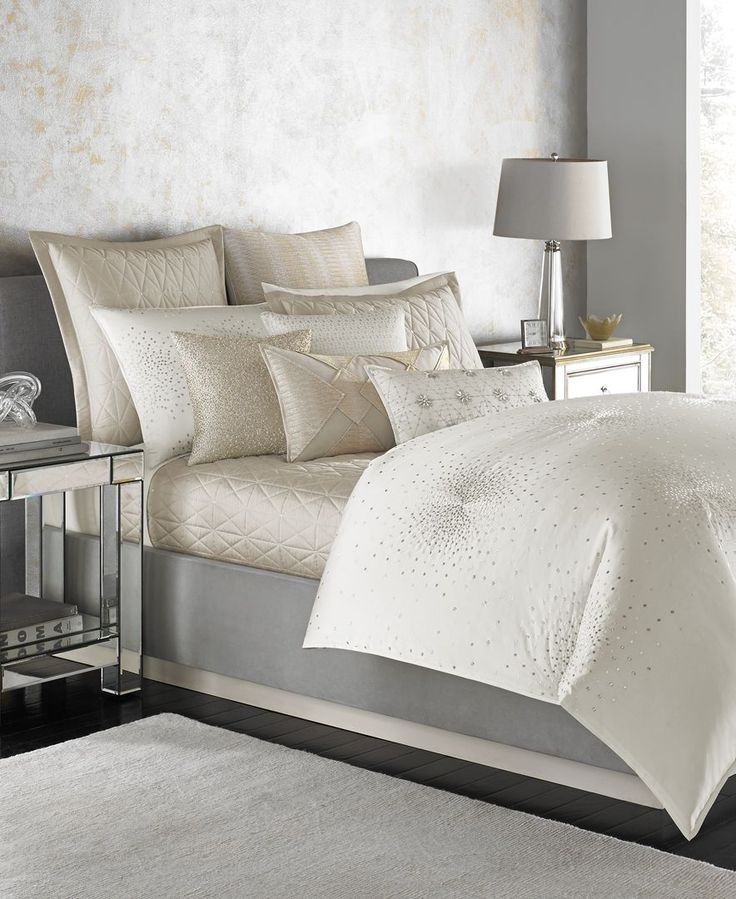 The versatile, timeless hue of Hotel Collection's Finest Sunburst king duvet cover lends added sophistication to your bedroom's interior design. | Cotton/polyester | Machine washable | Imported | Dime
