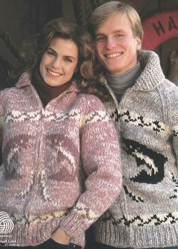 DESCRIPTION - Wild Salmon leap up out of water and sea weeds on the front panels and back panel of this charming White Buffalo Brand vintage sweater pattern. The borders around the cuffs, waist band and shoulders are a stylized waves. This listing is for an 8 page pattern in PDF