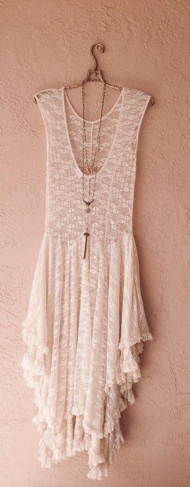Image of Free People hi low ruffle Gypsy bride lace maxi dress