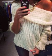 2015 nieuwe mode vrouwen sexy off shoulder toevallige trui poncho losse gebreide top oversized gebreide trui truien(China (Mainland))