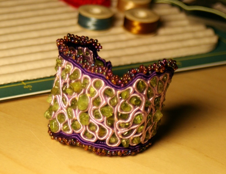 Soutache work, peridot stones, seed beads