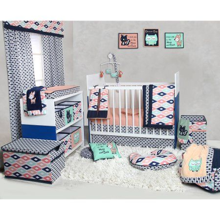 Bacati - Emma Aztec Coral/Mint/Navy 10-Piece Nursery in a Bag Crib Bedding Set 100% Cotton Percale Girls Crib Bedding Set with 2 crib fitted sheets (Bumper Pad not included) for US standard Cribs, Green