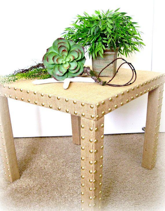 Side Accent Table / Burlap Fabric / Parsons End Table / Nailhead Bullet Trim