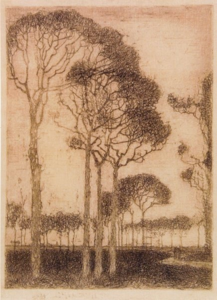Trees on the edge of the Oranjewoud by Jan Mankes -- Etching