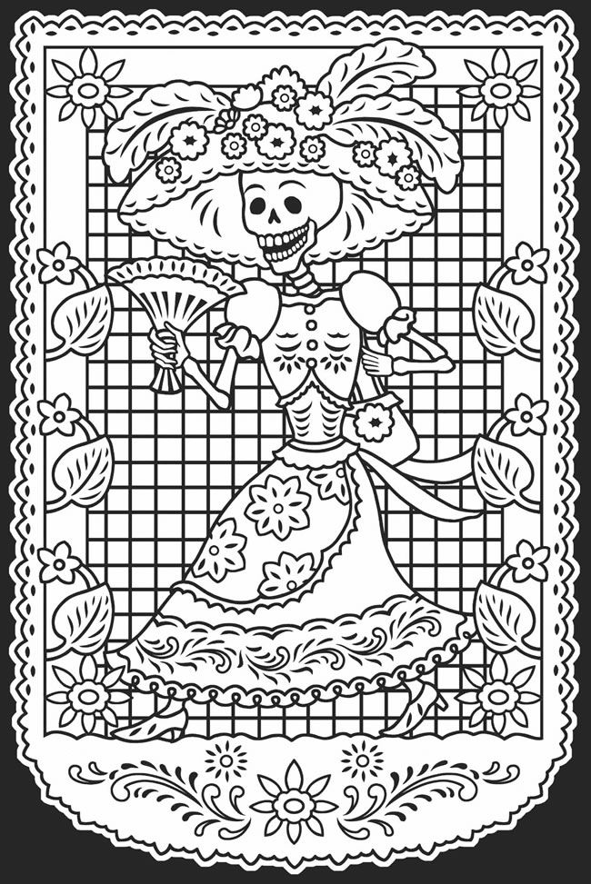 Day of the dead dia de los muertos stained glass coloring for Papel para dibujar