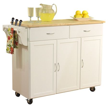 Add much-needed storage and prep space to your busy kitchen with this wood-topped kitchen cart, featuring 2 drawers and 3 storage cabinets. Includes a knife ...