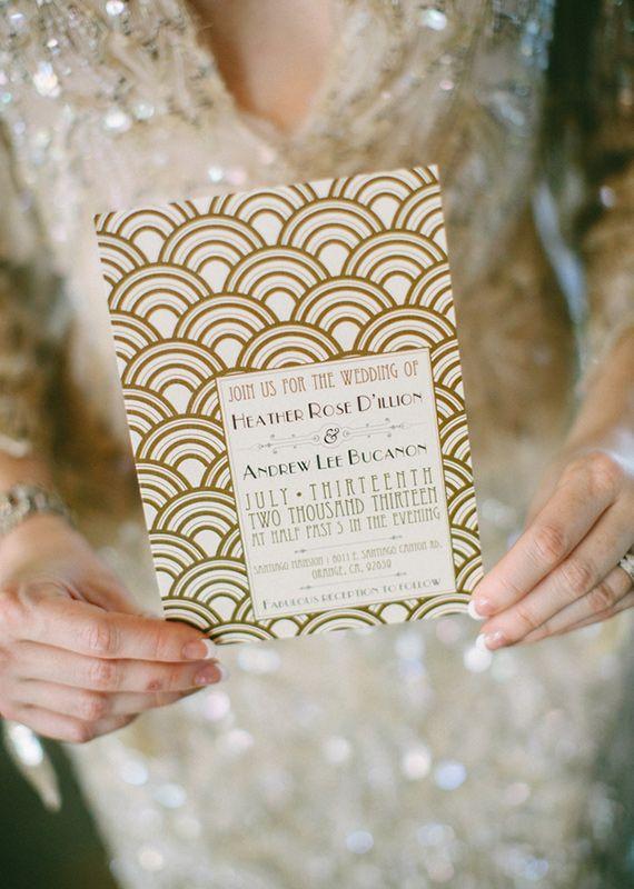 Great Gatsby wedding invitation | photos by Lauren Scotti | 100 Layer Cake