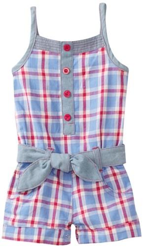 Carters Baby-Girls Infant Plaid Romper With Denim Belt, Vista Blue, 18 Months $14.00