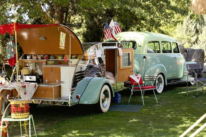 I love teardrop trailers and this is perfect with it's matching truck! I could like camping if I had this set up!