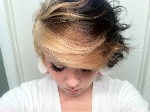 blonde streaks in short light brown hair