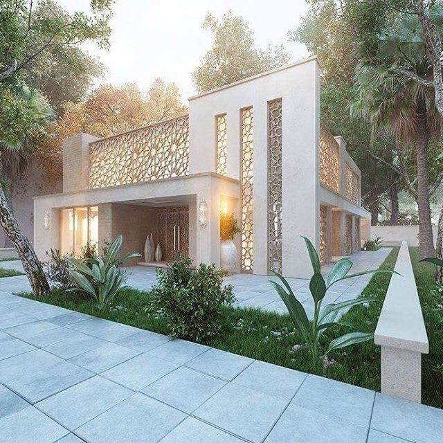 Modern Arabian: Lattice work, gold colors, clean lines