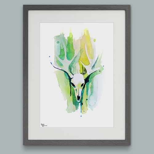Spring Green Antlered Moose Skull - Limited Edition Watercolour Art Print. This limited edition moose skull art print is from a series of six animal skull watercolour paintings. Contemporary in style this beautiful art print will enhance your existing art collection, especially if you like the theme of skulls. #skulls #spring #watercolour