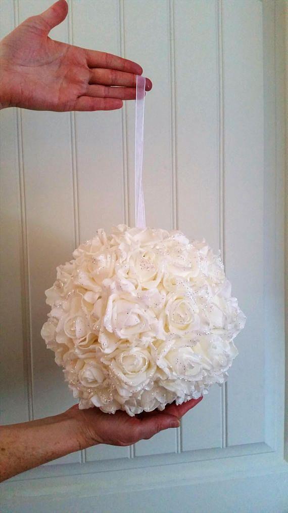 26/68cm Single white foam with silver glitter flower