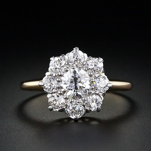Victorian Diamond Cluster Engagement Ring                              …