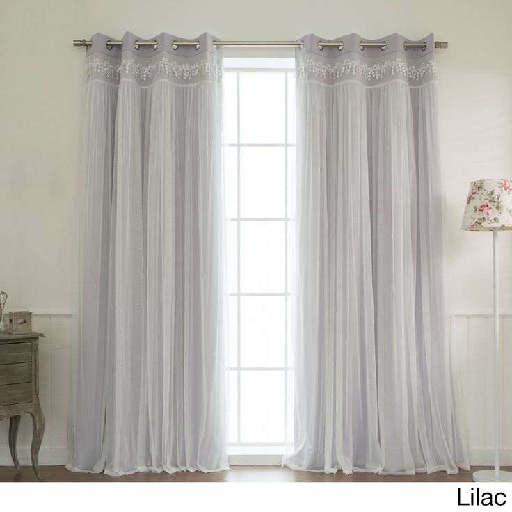 This lace overlay blackout curtain pair offers the perfect combination of style and functionality. Available in a range of light, airy colors that suit most design schemes, these curtains are made of