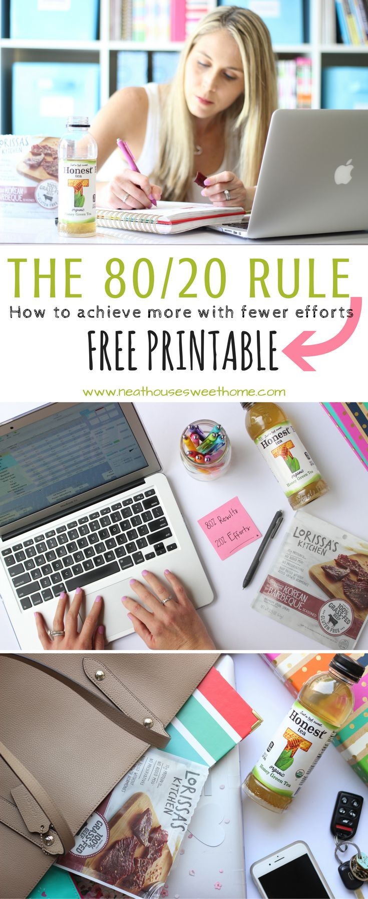 Ever wonder why the more you work, the fewer results you achieve? The Pareto Principle or 80/20 rule, can explain that. Use it to improve your productivity. #SnackHonestly #ad