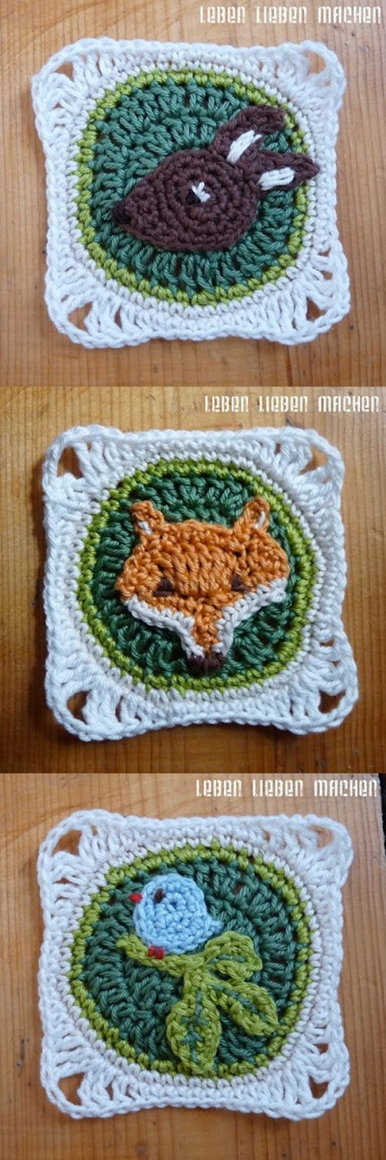 Crochet Animals Granny Squares - Chart and German Tutorial.