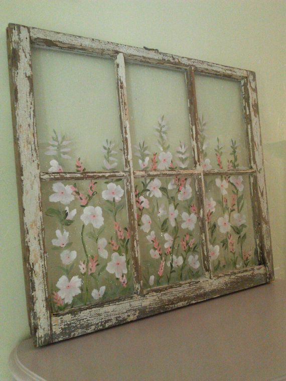 Great art painting idea! Go to a thrift store or yard sale and buy an old window. Paint flowers on it. Hang. Enjoy! Shabby Chic Painted Old Window by RightUpMyAlleyDesign on Etsy. Please also visit www.JustForYouPropheticArt.com for more colorful art you might like to pin or purchase. Thanks for looking!