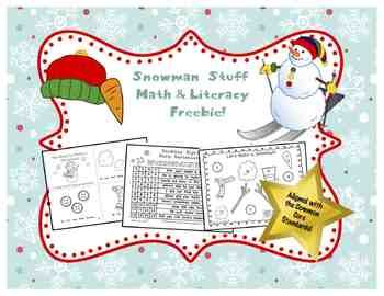 Snowman Stuff Math and Literacy Freebie!  This Common Core based, snowman-themed freebie pack contains 10 pages of math & literacy activities. There are 3 pages of cut-and-glue CC math, an 8-page emergent reader, a snowman writing page, 2 pages of add & read sight word sentences, an addition game, and a full-color bump game. This set is appropriate for use in PreK to first grade.