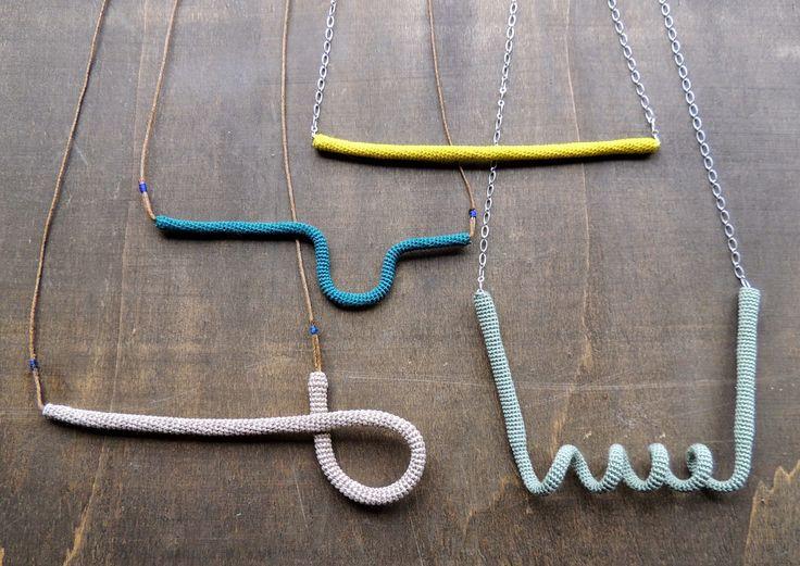 minimalistic crochet tubes necklaces