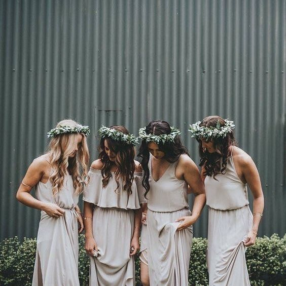 These bridesmaids dresses would look perfect next to one of our @daughtersofsimone gowns! Appointments are filling up fast for the trunk show this weekend so make sure to call us ASAP! Designer: @showmeyourmumu #bride #bridal #bridesmaid #flowercrown #bridalparty #wedding