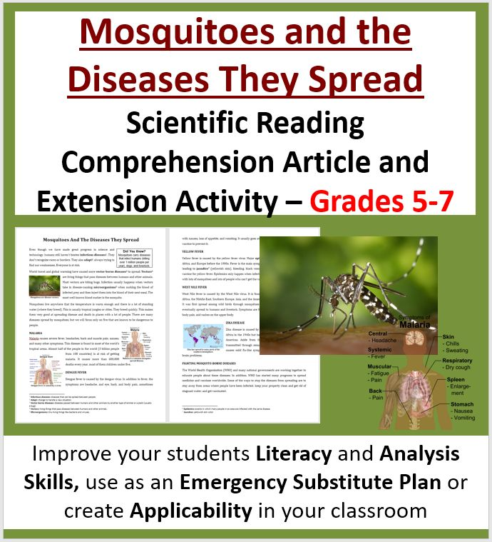 The reading looks at: - Infectious diseases - Vector-borne diseases - Mosquitoes - Malaria - Dengue fever - Yellow fever - West Nile fever - Zika disease - Fighting mosquito-borne diseases