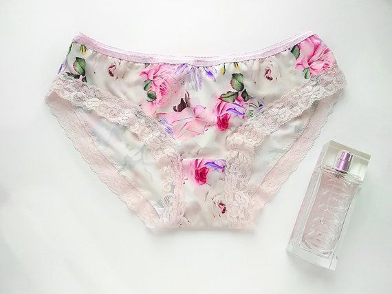 Romantic boudoir panties, Pink lilac peony print wedding underwear, Romantic gift for the bride, Christmas gift for her