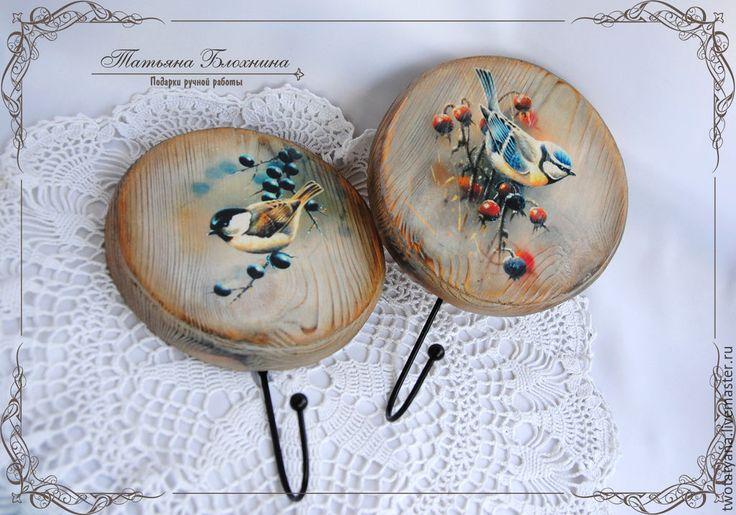 """Купить Вешалки """"Птички"""" - разноцветный, вешалки, ключницы, Декупаж, работы декупаж, работы из дерева, дерево"""