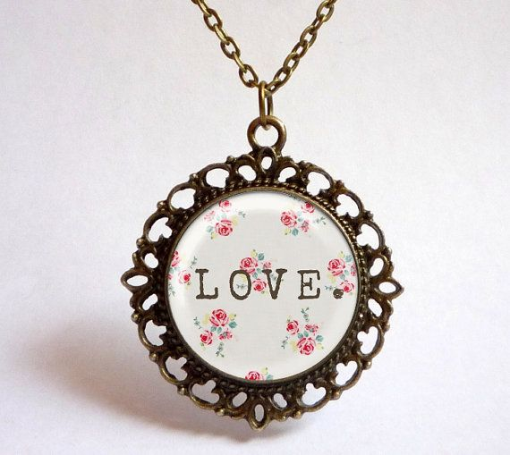 Floral LOVE pendant. Shabby chic necklace. Vintage inspired floral jewelry with chain (MV0021)
