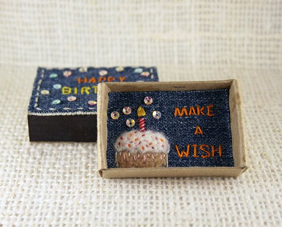 Happy Birthday Card Matchbox, Make a Wish Card, Small Tiny Gift box, Embroidered Card