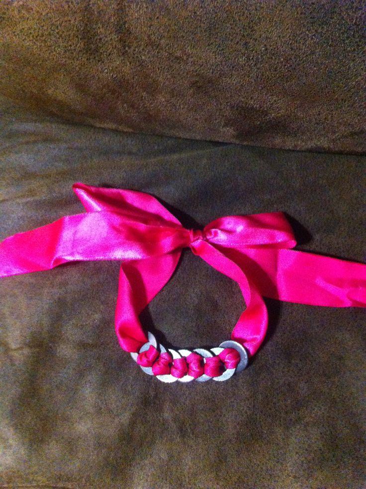 Bracelet made with ribbon & washers!